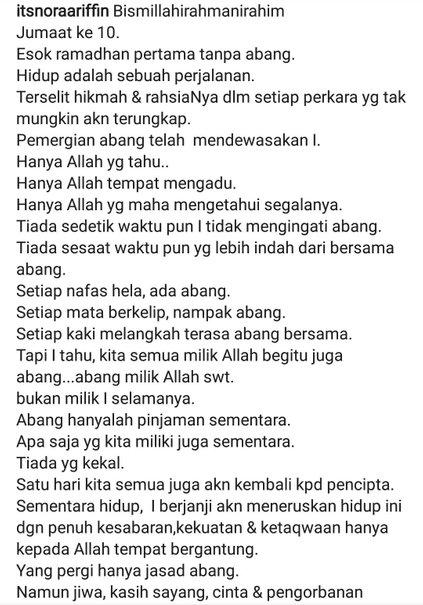 luahan nora sambut ramadhan tanpa suami sentuh hati netizen 1