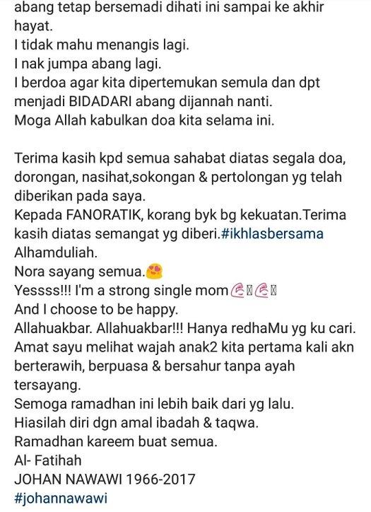 luahan nora sambut ramadhan tanpa suami sentuh hati netizen 2