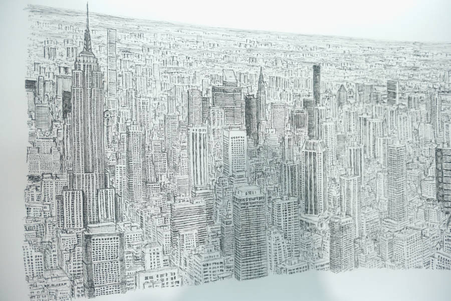 lukisan empire state building oleh stephen wiltshire