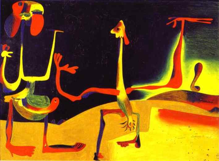 maksud lukisan man and woman in front of a pile of excrement oleh joan miro