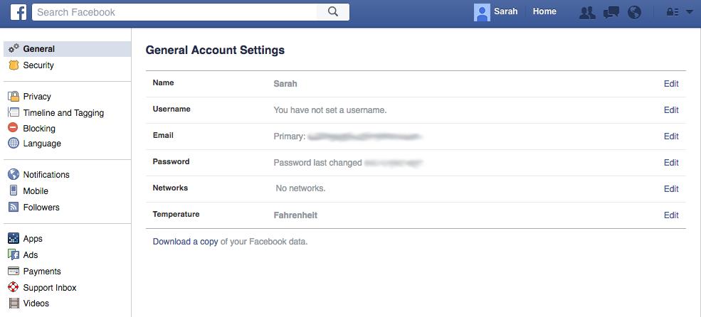menu general account settings facebook