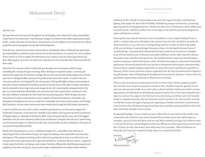 mohammed dewji ikrar giving pledge