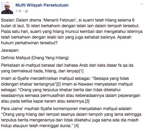 mufti wilayah persekutuan jawab kekeliruan netizen terhadap pengakhiran drama menanti februari 1
