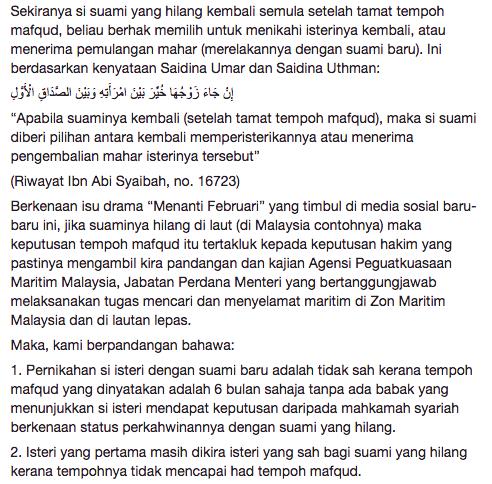 mufti wilayah persekutuan jawab kekeliruan netizen terhadap pengakhiran drama menanti februari 7