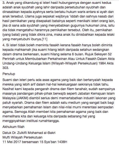 mufti wilayah persekutuan jawab kekeliruan netizen terhadap pengakhiran drama menanti februari 8