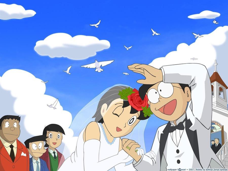 nobita dan shizuka berakhir di jinjang pelamin