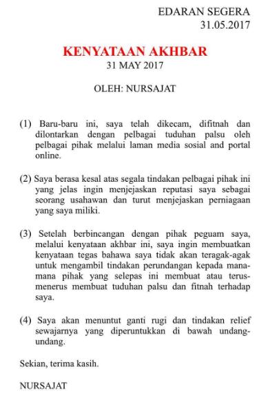nur sajat sedia ambil tindakan undang undang 2
