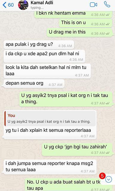 panas zahirah macwilson tayang foto perbualan whatsapp dengan kamal adli 2