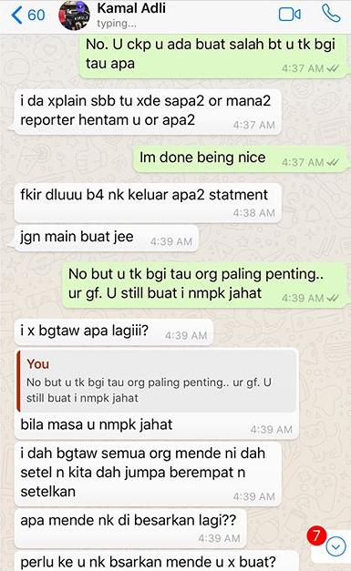 panas zahirah macwilson tayang foto perbualan whatsapp dengan kamal adli 3