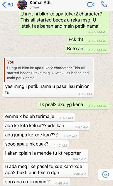panas zahirah macwilson tayang foto perbualan whatsapp dengan kamal adli 5