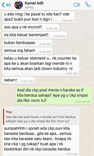 panas zahirah macwilson tayang foto perbualan whatsapp dengan kamal adli 6