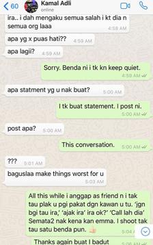 panas zahirah macwilson tayang foto perbualan whatsapp dengan kamal adli 8