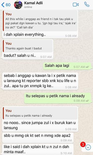 panas zahirah macwilson tayang foto perbualan whatsapp dengan kamal adli 9
