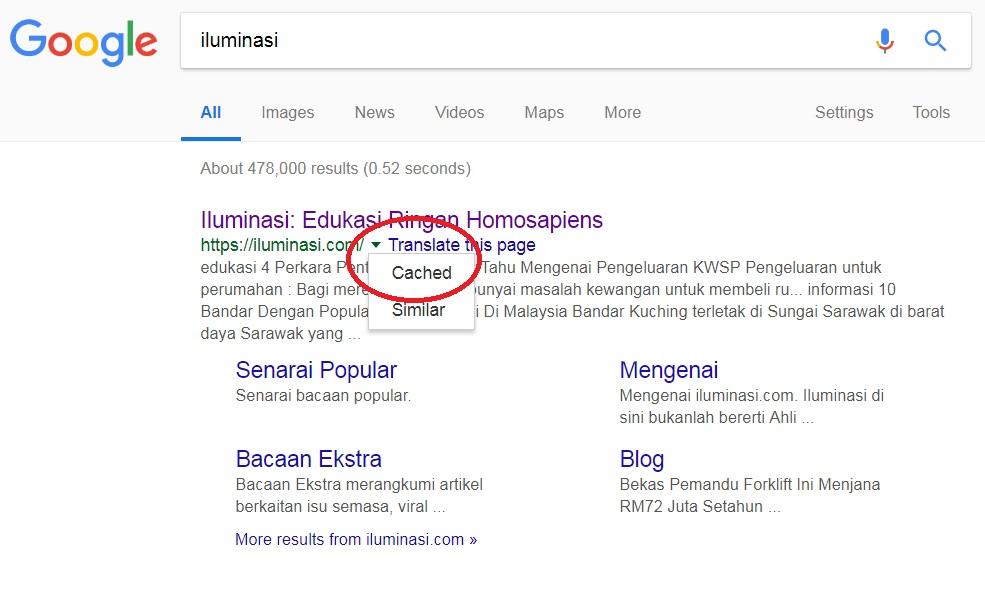 panduan menggunakan google dengan lebih berkesan cached website