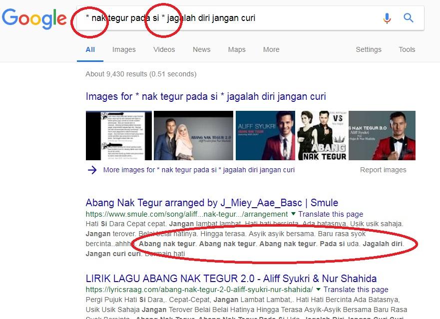 panduan menggunakan google dengan lebih berkesan gunakan simbol asterisk