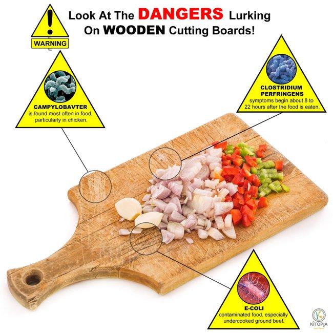 papan pemotong banyak sisa makanan dan menjadi tempat pembiakan kuman bakteria