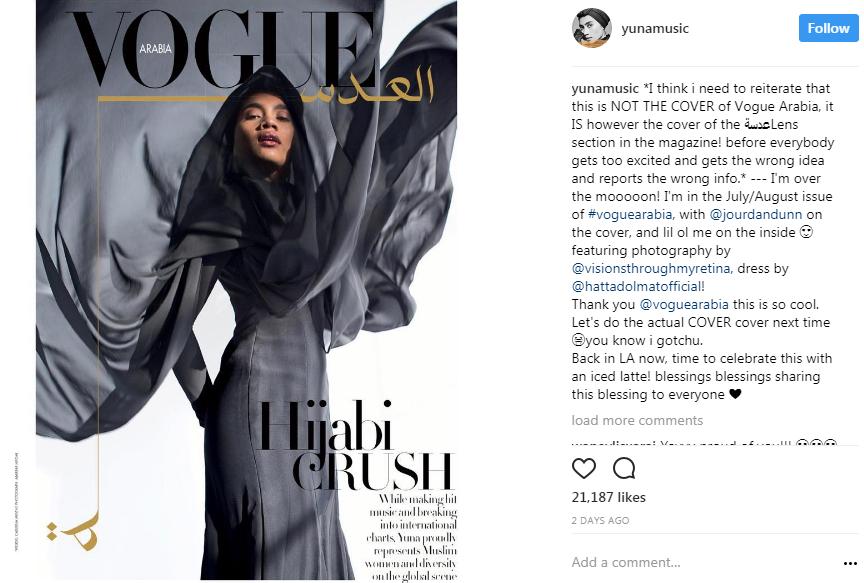 pecah tradisi yuna artis malaysia pertama tampil dalam majalah vogue arabia 2