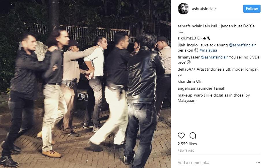 pelakon ashraf sinclair ditahan polis di indonesia 2