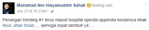 pelawak jihan muse masuk hospital jalani pembedahan 3