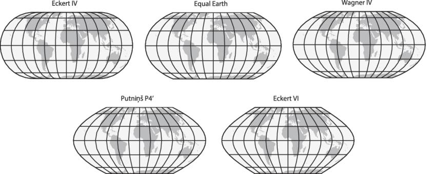 perbandingan peta equal earth dengan beberapa projeksi peta lain