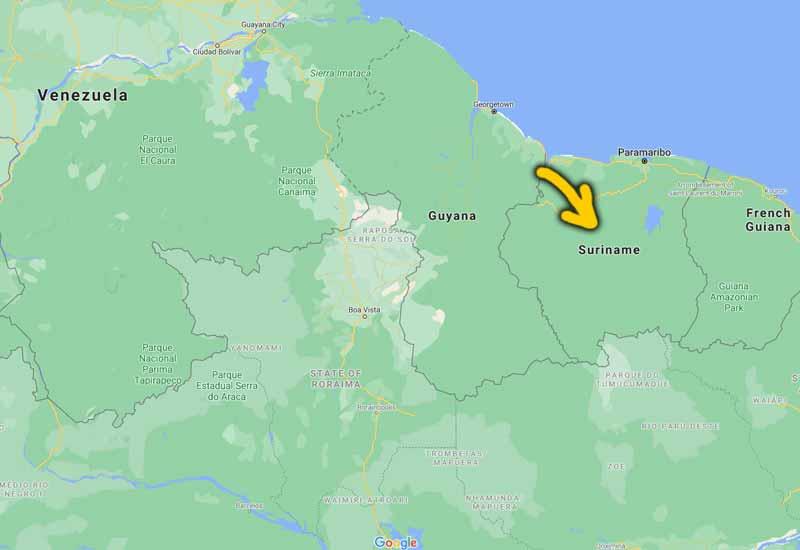 peta kedudukan suriname