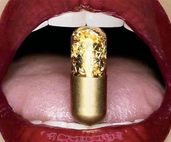 pil emas 7 item pelik yang dihasilkan dan disalut emas