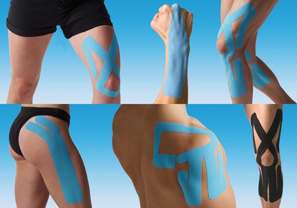 pita kinesio digunakan dengan pelbagai cara di bahagian tubuh badan yang berbeza