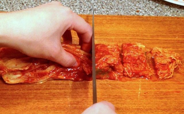 potong kimchi kecil resepi