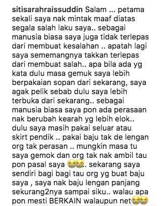 punca sebenar siti sarah mohon maaf di instagram 1