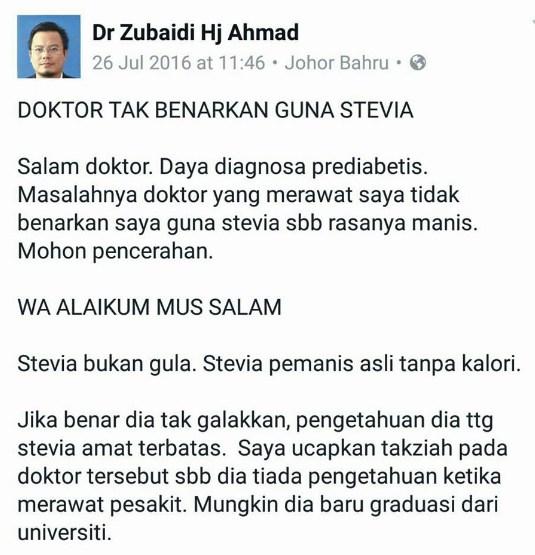 respon doktor dr zubaidi berkaitan stevia tidak bagus untuk kesihatan
