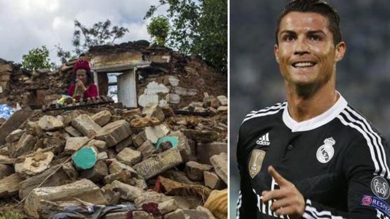 ronaldo memberi derma kepada mangsa gempa bumi di nepal