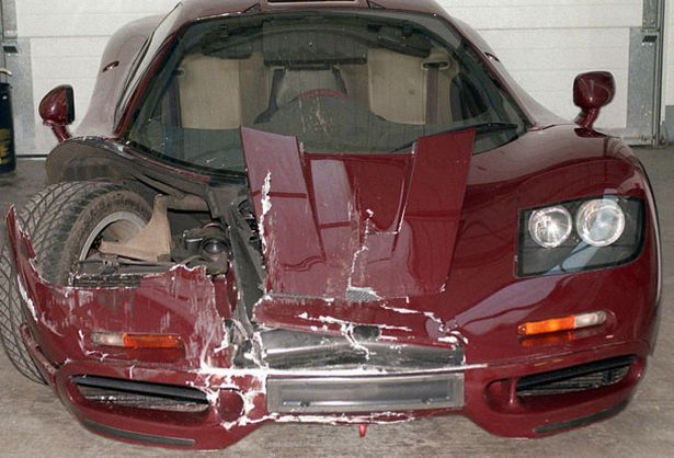 rowan atkinson s mclaren f1 supercar after a crash in 1999 pic rex features 64971328