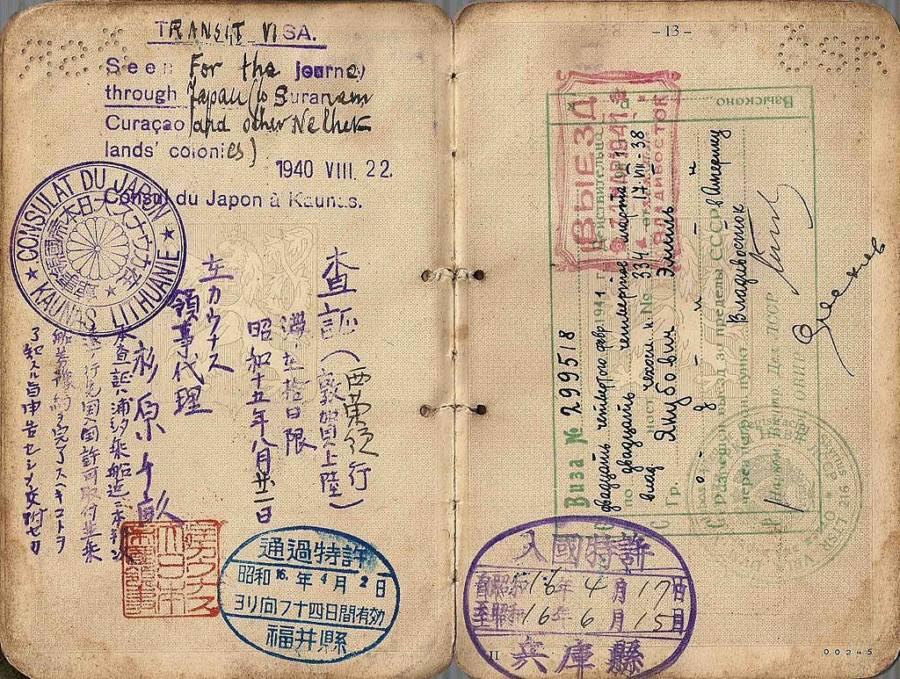 salah satu visa yang dikeluarkan oleh chiune sugihara