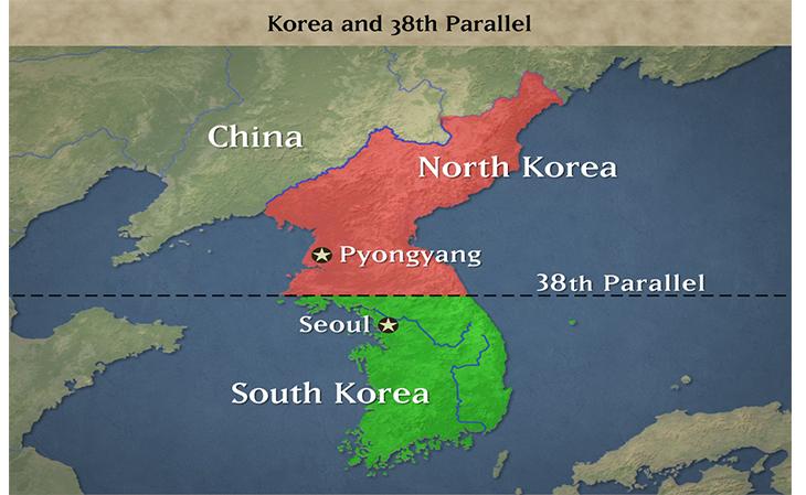 semenanjung korea terbahagi 2 di 38th parallel