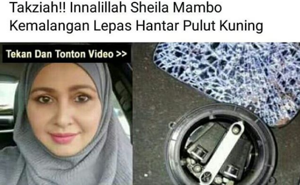 sheila mambo kemalangan didakwa meninggal dunia