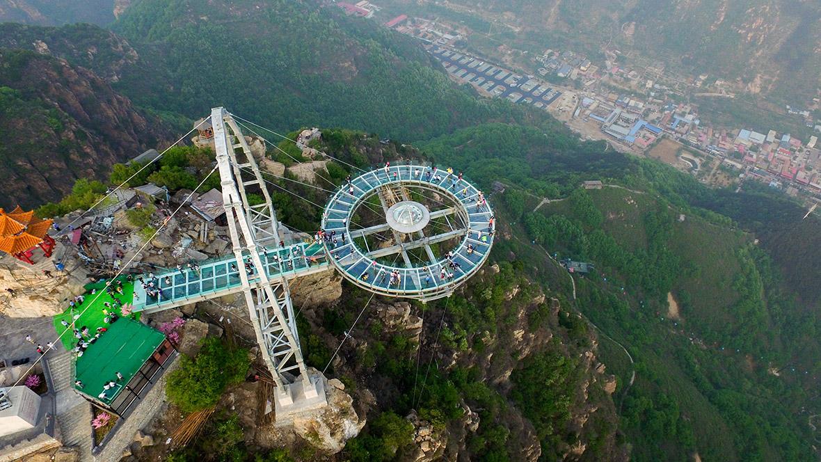 shilinxia jambatan kaca beijing tergantung bergoyang