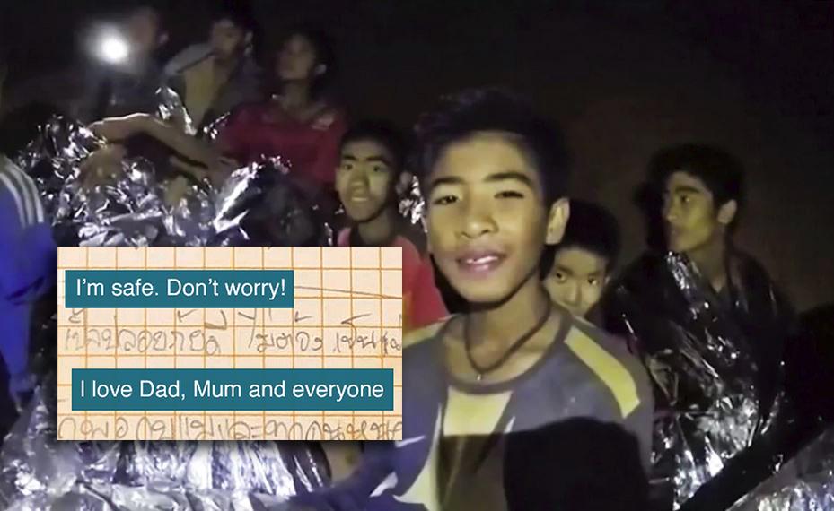 surat kanak kanak terperangkap dalam gua di thailand buat keluarga 989