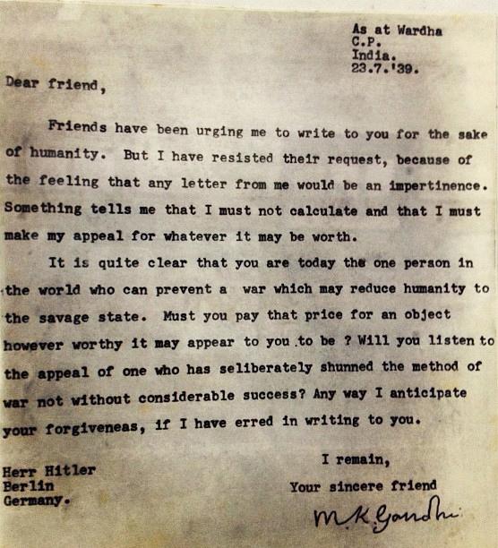 surat pertama mahatma gandhi kepada adolf hitler