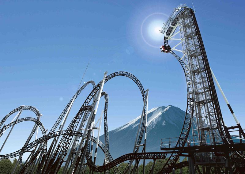 takabisha fuji jepun dengan penjatuhan dari aras setinggi 121 kaki