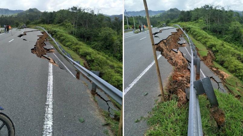 tanah runtuh di jalan utama sungai koyan cameron highlands