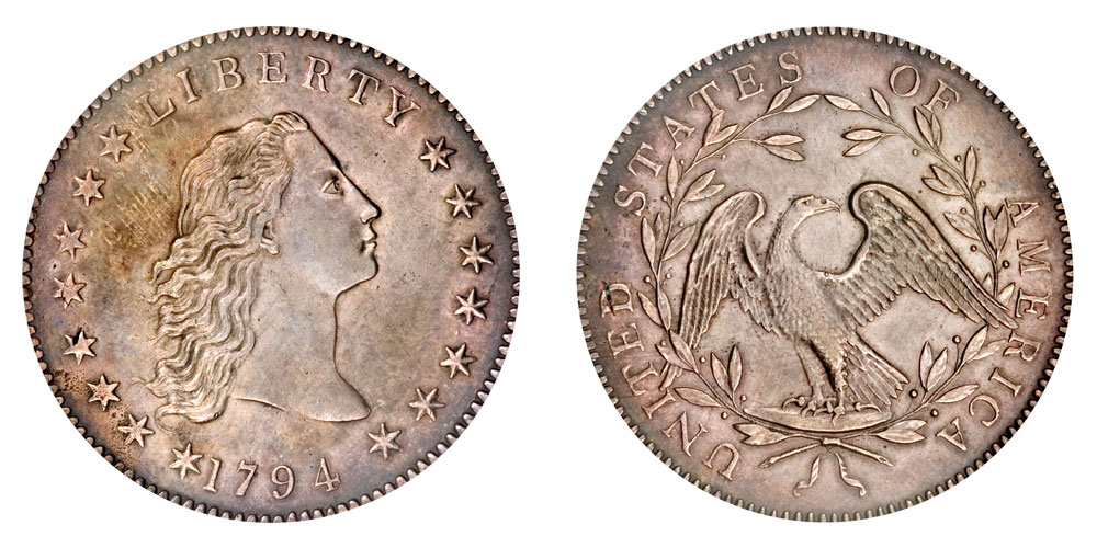 the flowing hair silver copper dollar 1794