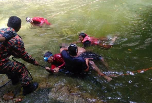 tiga lelaki lemas ketika berkelah di air terjun sungai sendat