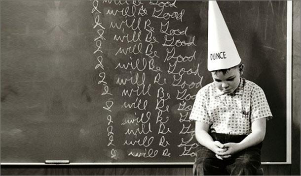 topi dunce cap dikenakan kepada pesalah kanak kanak