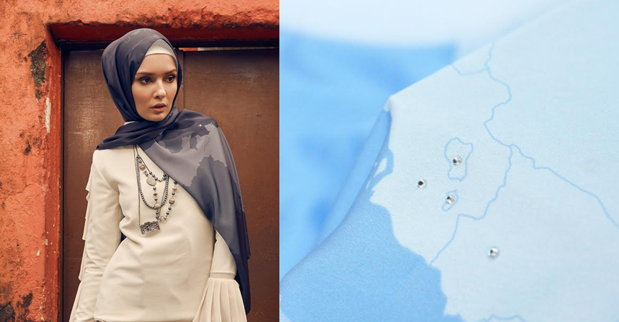 tudung awanscarf corak peta malaysia