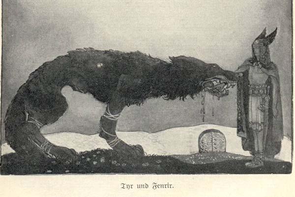 tuhan orang norse tyr dengan fenrir