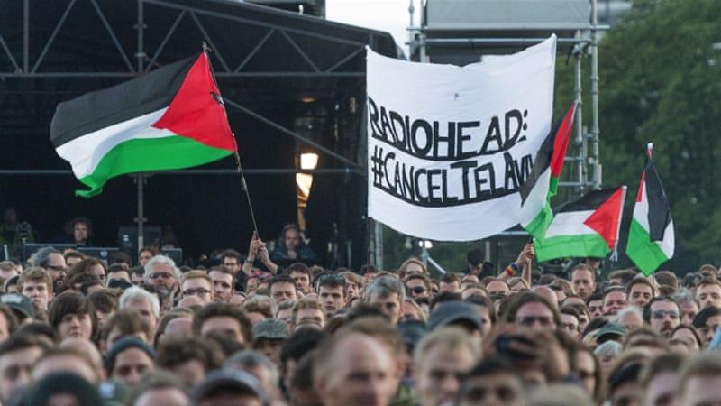 tunjuk perasaan radiohead israel di glasgow