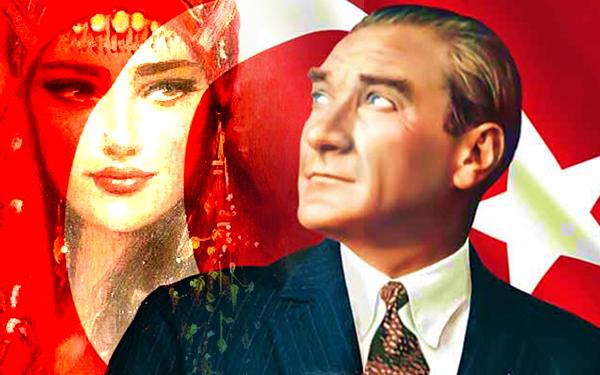 turkish flag ataturk girl