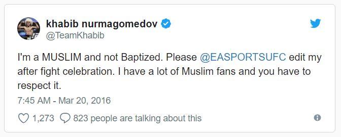 tweet dari khabib kepada ea sports