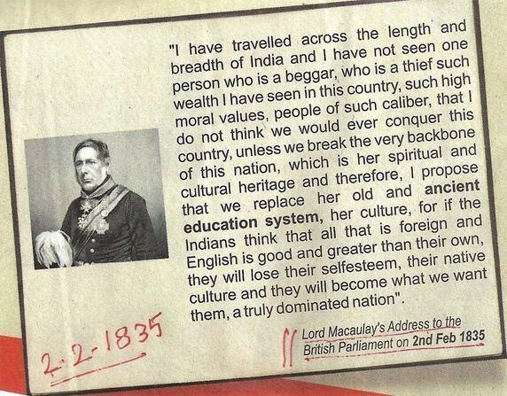 ucapan lord macaulay di parlimen british pada tahun 1835