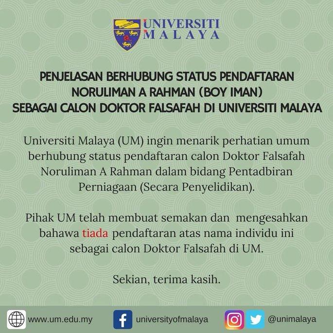 universiti malaya nafi status pengajiannya ini komen boy iman 2